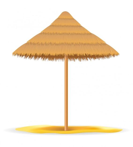 Parasol De Paille Et De Roseau Pour L'ombre Vecteur Premium