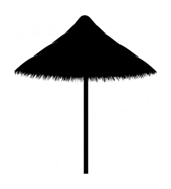 Parasol Pour La Silhouette Contour Noir Vecteur Premium