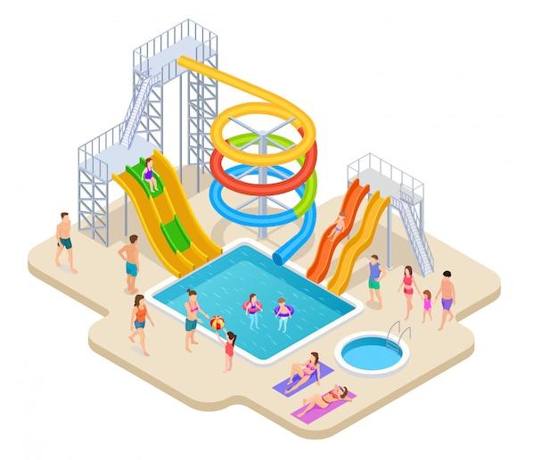 Parc Aquatique Isométrique. Aquapark Enfants Toboggan Toboggan Aquatique Loisirs Aquatiques Activités D'été Piscine Loisirs Jeu Parc Aquatique Vecteur Premium