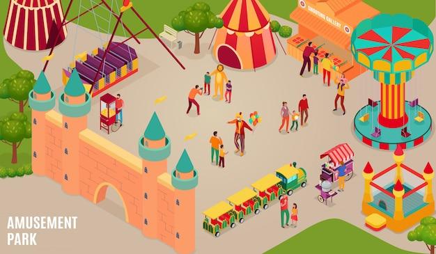 Parc D'attractions Avec Artistes De Cirque Et Visiteurs Château Gonflable Carrousel Et Galerie De Tir Illustration Horizontale Isométrique Vecteur gratuit