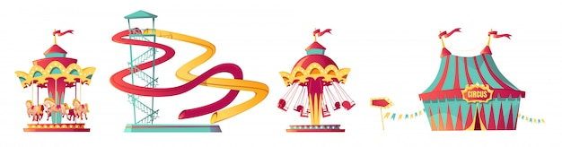 Parc D'attractions, Carnaval Ou Caricature De Foire Festive Vecteur gratuit