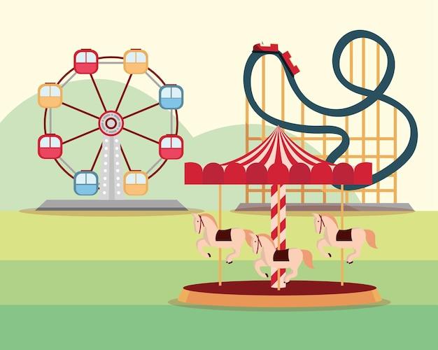 Parc D'attractions Carnaval Grande Roue Roller Coaster Et Carrousel Illustration Vecteur Premium