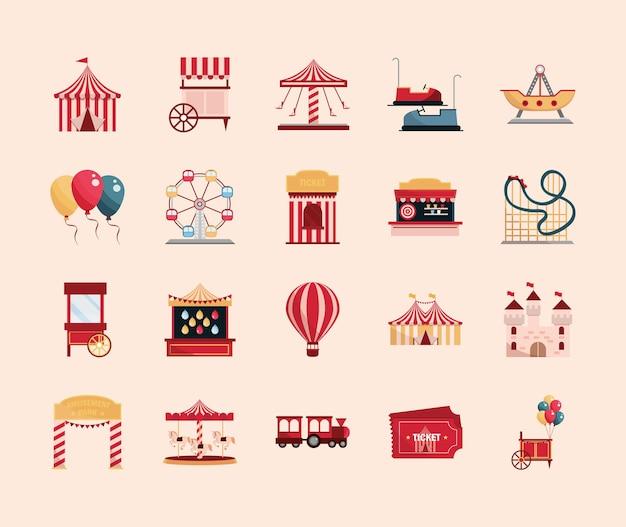 Parc D'attractions Carnaval Tente Stand Jeu Billet Roue Carrousel Roller Coaster Illustration Vecteur Premium