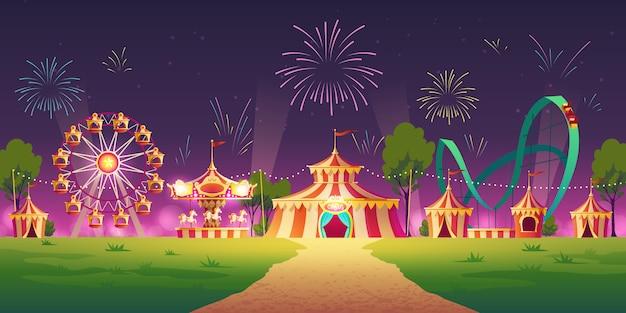 Parc D'attractions Avec Chapiteau De Cirque Et Feux D'artifice Vecteur gratuit