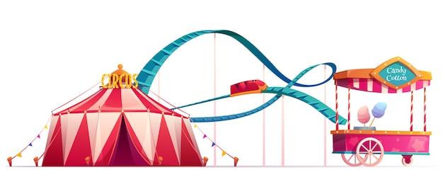 Parc D'attractions Avec Cirque Et Montagnes Russes Vecteur gratuit