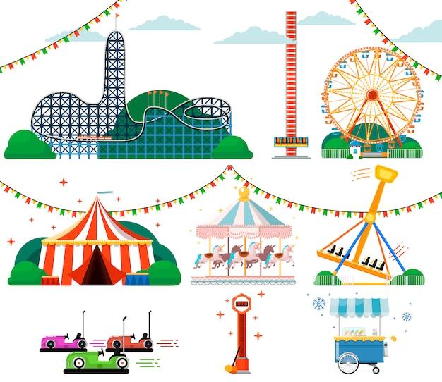 Parc D'attractions Avec Ensemble D'attractions Vecteur Premium