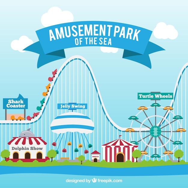 Parc d'attractions de fond Vecteur gratuit