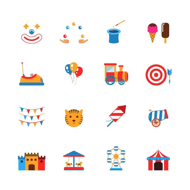Parc D'attractions Icons Flat Vecteur Premium