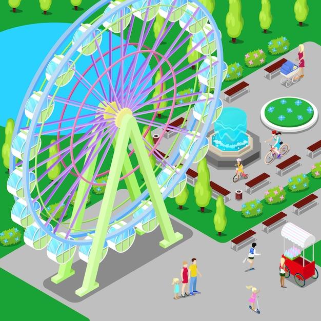 Parc D'attractions Isométrique Avec Grande Roue Et Enfants. Vecteur Premium