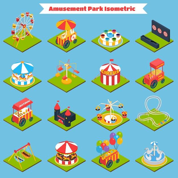 Parc d'attractions isométrique Vecteur gratuit