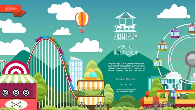 Parc D'attractions Plat Vecteur gratuit