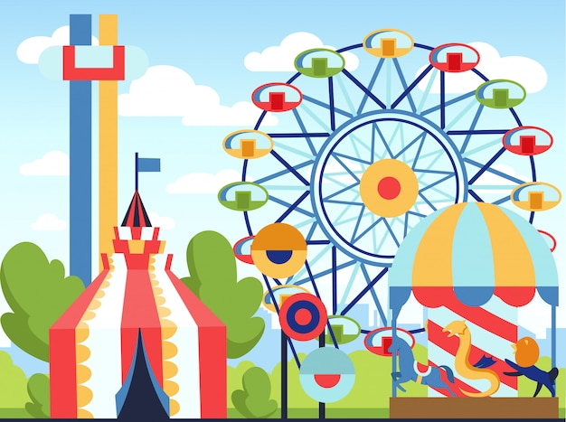 Parc d'attractions. thème du parc, carnaval des enfants, animations Vecteur Premium