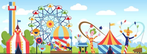 Parc d'attractions. thème de vecteur de parc de plaisir, journée de divertissement enfants carnaval, illustration de dessin animé de attractions amusantes enfants. Vecteur Premium