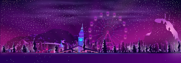 Parc d'attractions sur le vecteur de dessin animé station d'hiver Vecteur gratuit