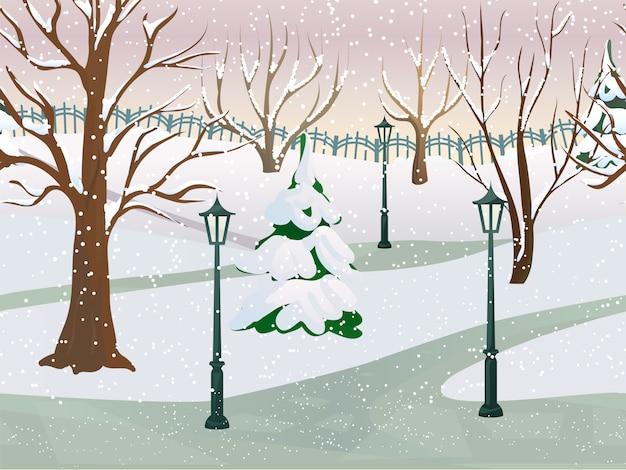 Parc d'hiver 2d paysage de jeu Vecteur gratuit