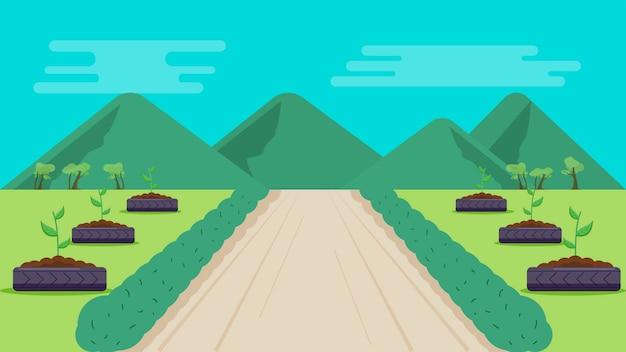 Parc avec montagnes fond illustration vectorielle Vecteur Premium