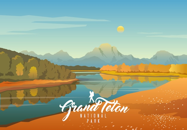 Parc National De Grand Teton. Nature Du Wyoming. Moran. Vecteur Premium