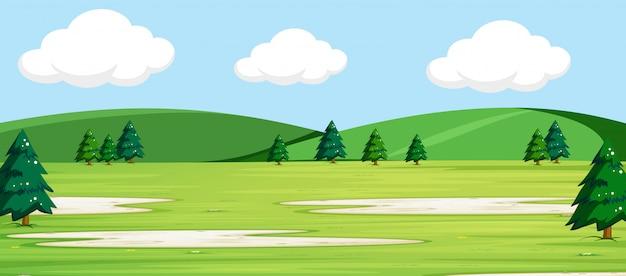 Parc naturel en plein air Vecteur gratuit