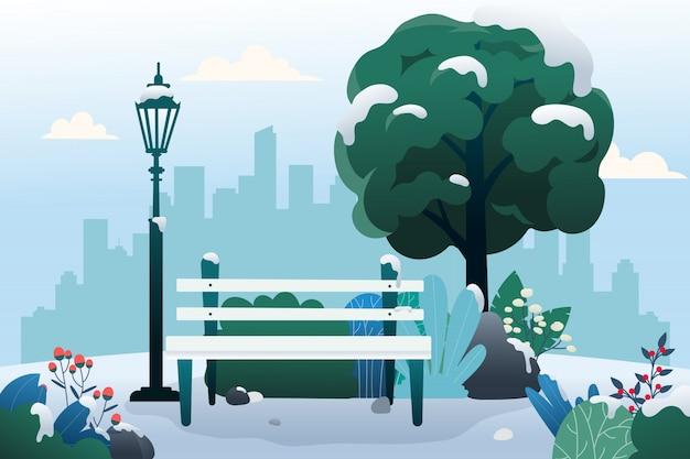 Parc public avec banc en hiver. Vecteur Premium