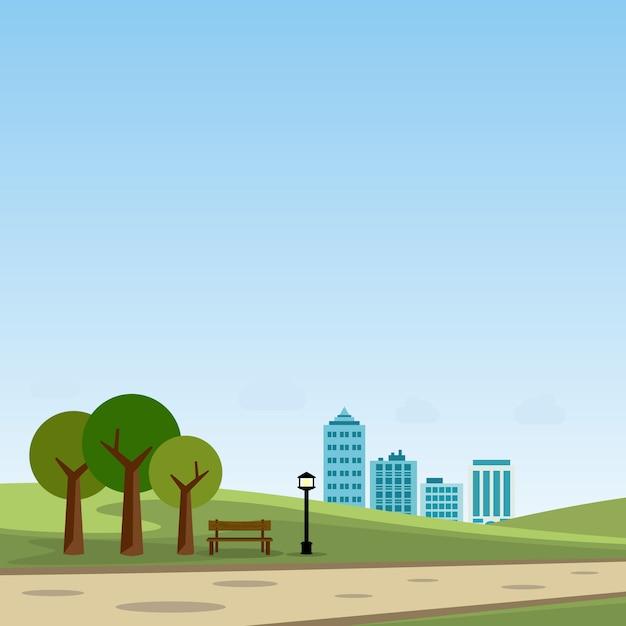 Parc public dans l'illustration vectorielle de la ville Vecteur Premium