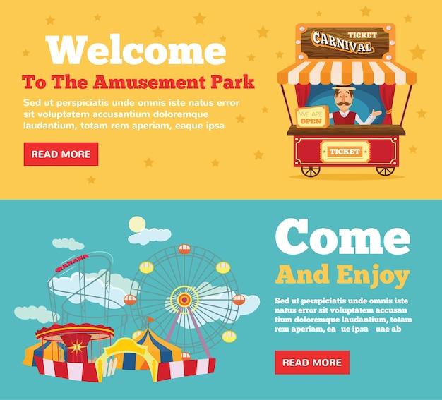 Parc Public, Ensemble De Concepts D'illustration Plat Parc D'attractions Vecteur Premium