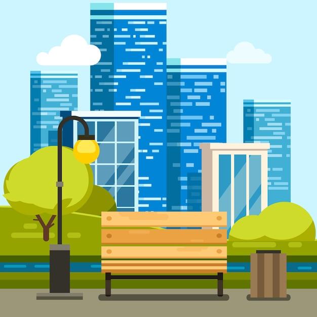 Parc de la ville avec banc et gratte-ciel du centre-ville Vecteur gratuit