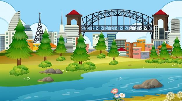 Parc en ville avec rivière Vecteur gratuit