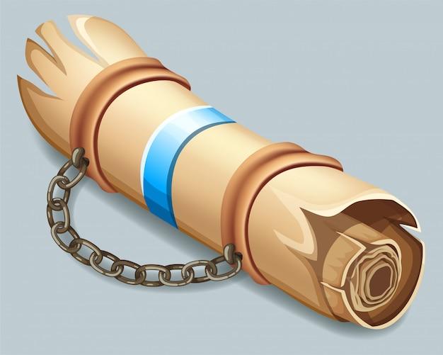 Parchemin royal orné d'une ceinture en cuir. Vecteur Premium