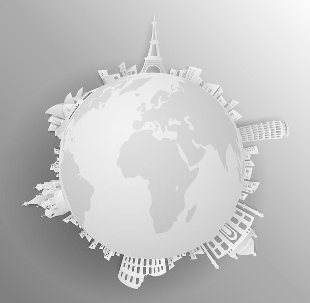 Parcourez le monument du monde avec le concept backround gris Vecteur Premium