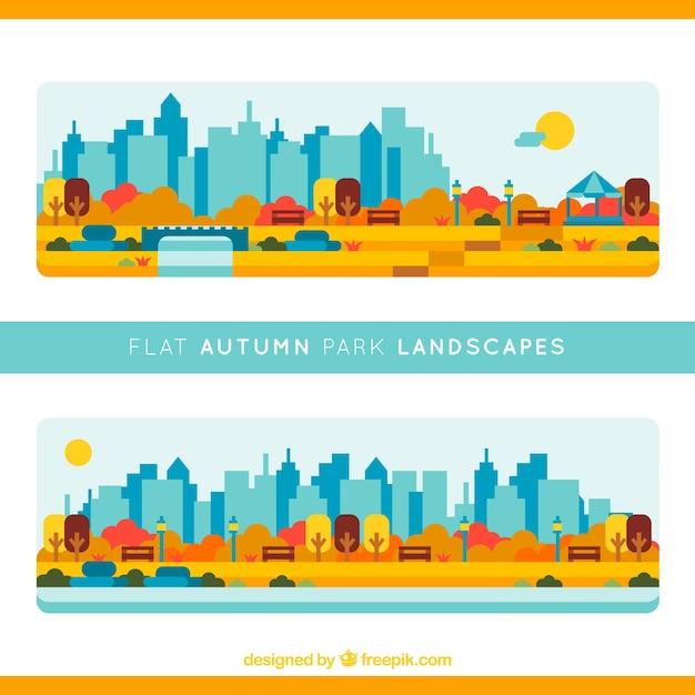 Les parcs avec la ville de fond Vecteur gratuit