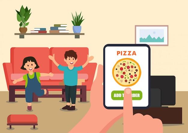 Un parent commande une pizza pour les enfants Vecteur Premium