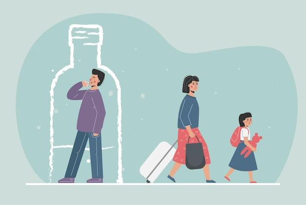 Le Parent Est Un Alcoolique Vecteur Premium