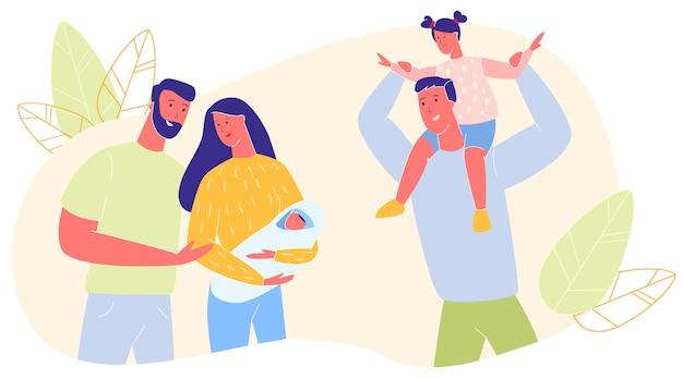 Parenting, Famille, Relations Amoureuses, Maternité Vecteur Premium