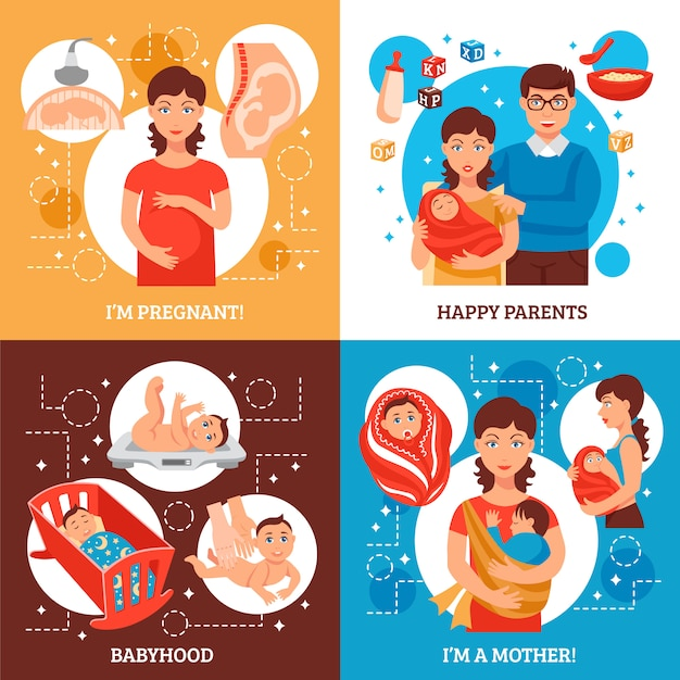 Parents concept icons set Vecteur gratuit