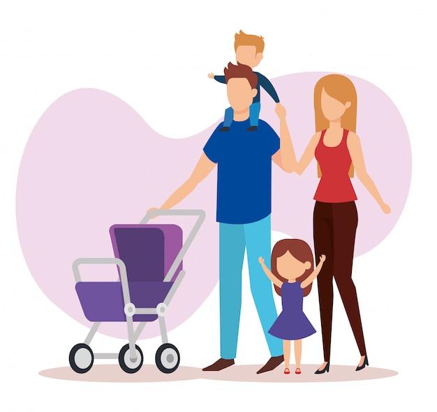 Parents en couple avec des personnages de bébé Vecteur gratuit