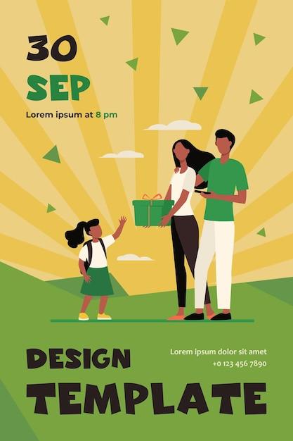Les Parents Donnent Un Cadeau à La Petite Fille. Couple De Famille Et Enfant Avec Modèle De Flyer Plat Boîte Présente Vecteur gratuit