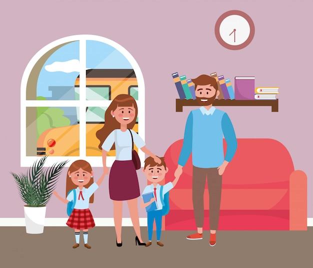 Parents avec enfants allant à l'école Vecteur gratuit