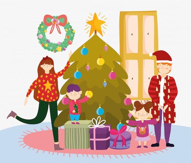 Parents Et Enfants Avec Des Cadeaux D'arbre Joyeux Noël, Bonne Année Vecteur Premium