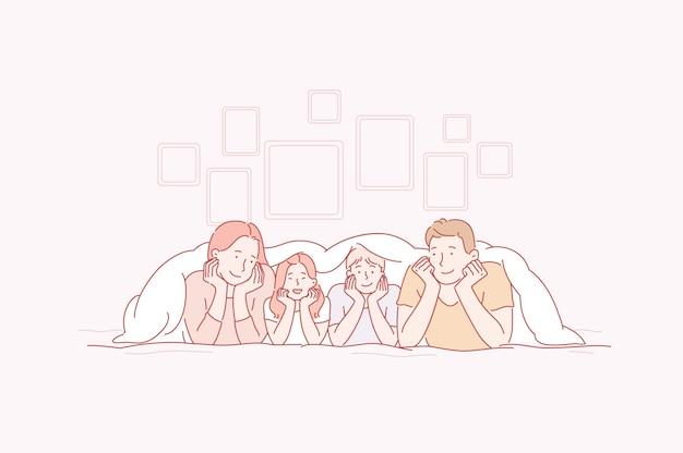 Les parents et les enfants jouent avec le sourire sur les visages de la maison. Vecteur Premium