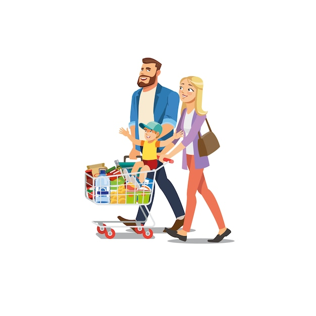 Parents Avec Enfants Shopping En Vecteur De Supermarché Vecteur Premium