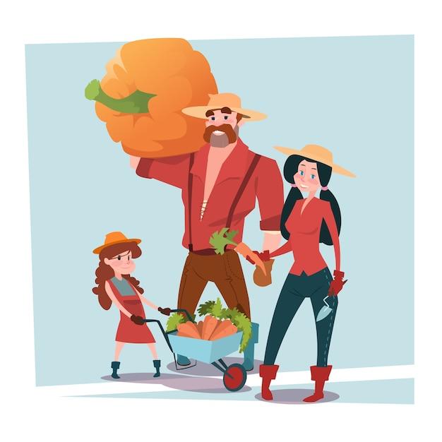 Les parents et la fille d'agriculteurs se rassemblent Vecteur Premium