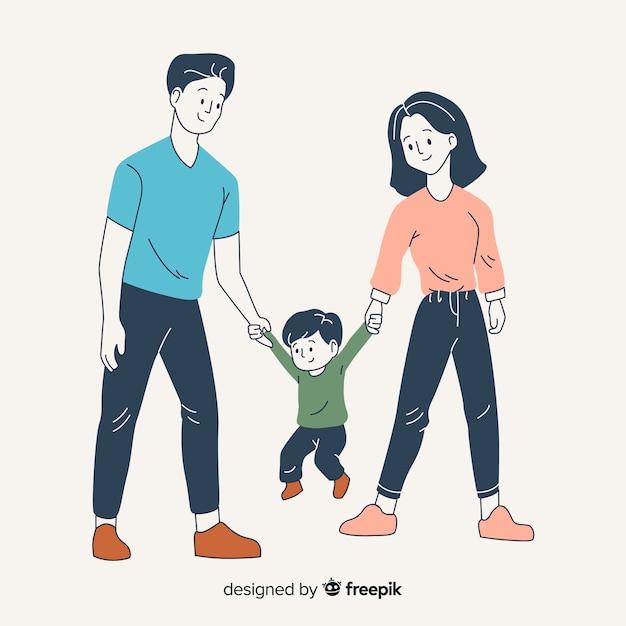 Parents Et Fils Dans Un Style De Dessin Coréen Vecteur Premium