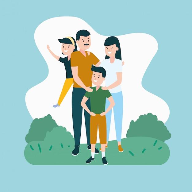Parents Avec Fils Et Fille Vecteur gratuit