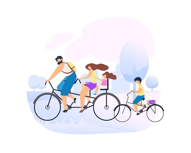 Les parents font du vélo tandem avec une petite fille. Vecteur Premium