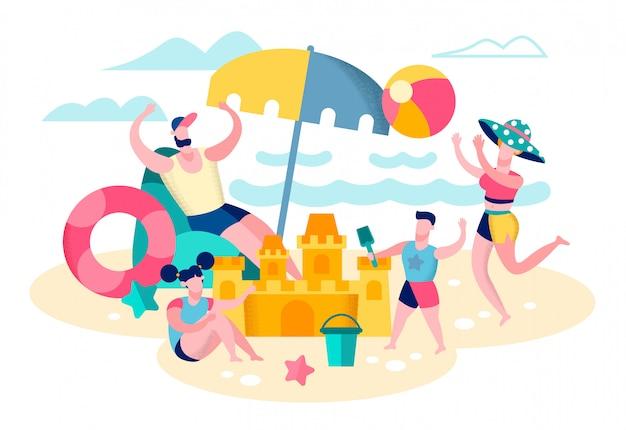 Parents jouant avec des enfants sur la plage plate vector Vecteur Premium