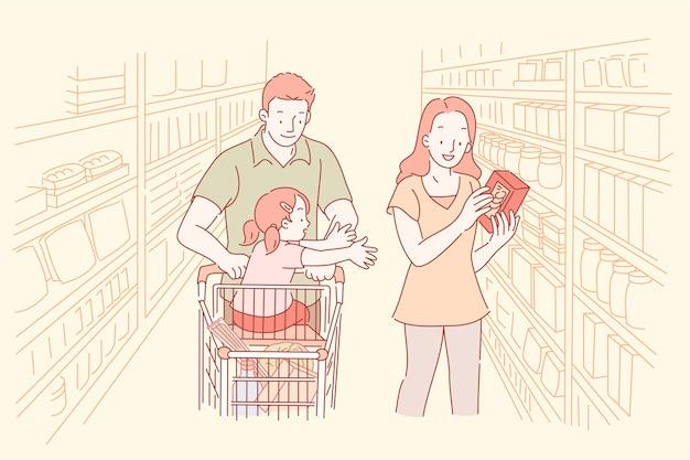 Les Parents Et Leurs Enfants Font Leurs Courses Au Supermarché En Ligne Vecteur Premium