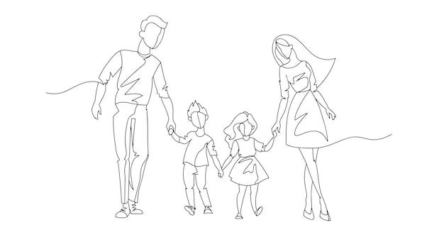 Parents En Ligne Continue Marchant Avec Des Enfants. Famille Heureuse D'une Ligne. Contour People Outdoor. Personnages Parentaux. Vecteur Premium