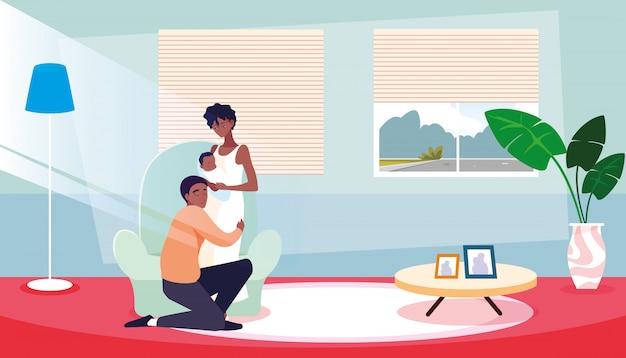 Parents avec nouveau-né à la maison Vecteur Premium