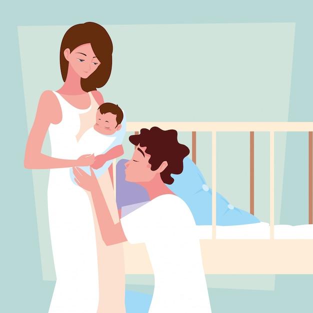 Parents avec personnage avatar bébé Vecteur Premium