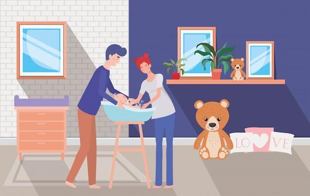 Parents prenant soin du nouveau-né avec le bain Vecteur gratuit